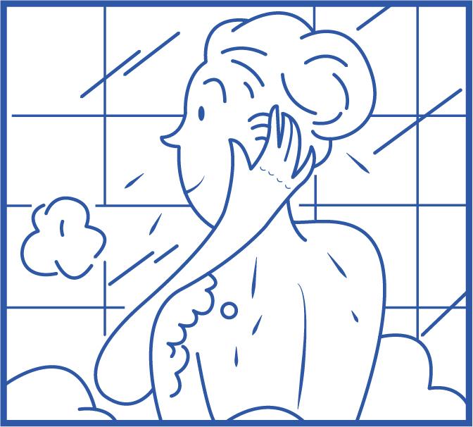 Étape 4 Lavez votre visage et votre cou en insistant.