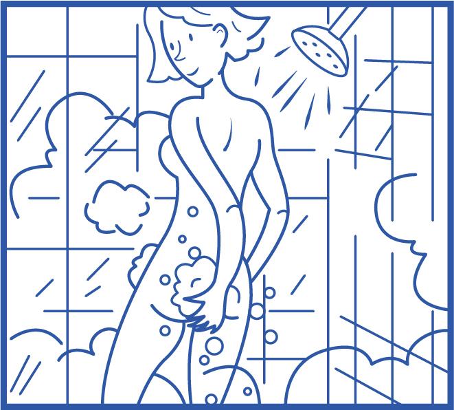 Étape 6 Savonnez en dernier votre région génitale puis la partie anale.